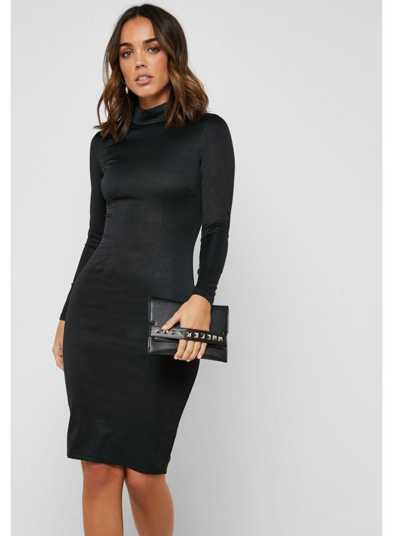 7216e4044fcd Shop Ella By Namshi High Neck Midi Dress Black online in Riyadh ...