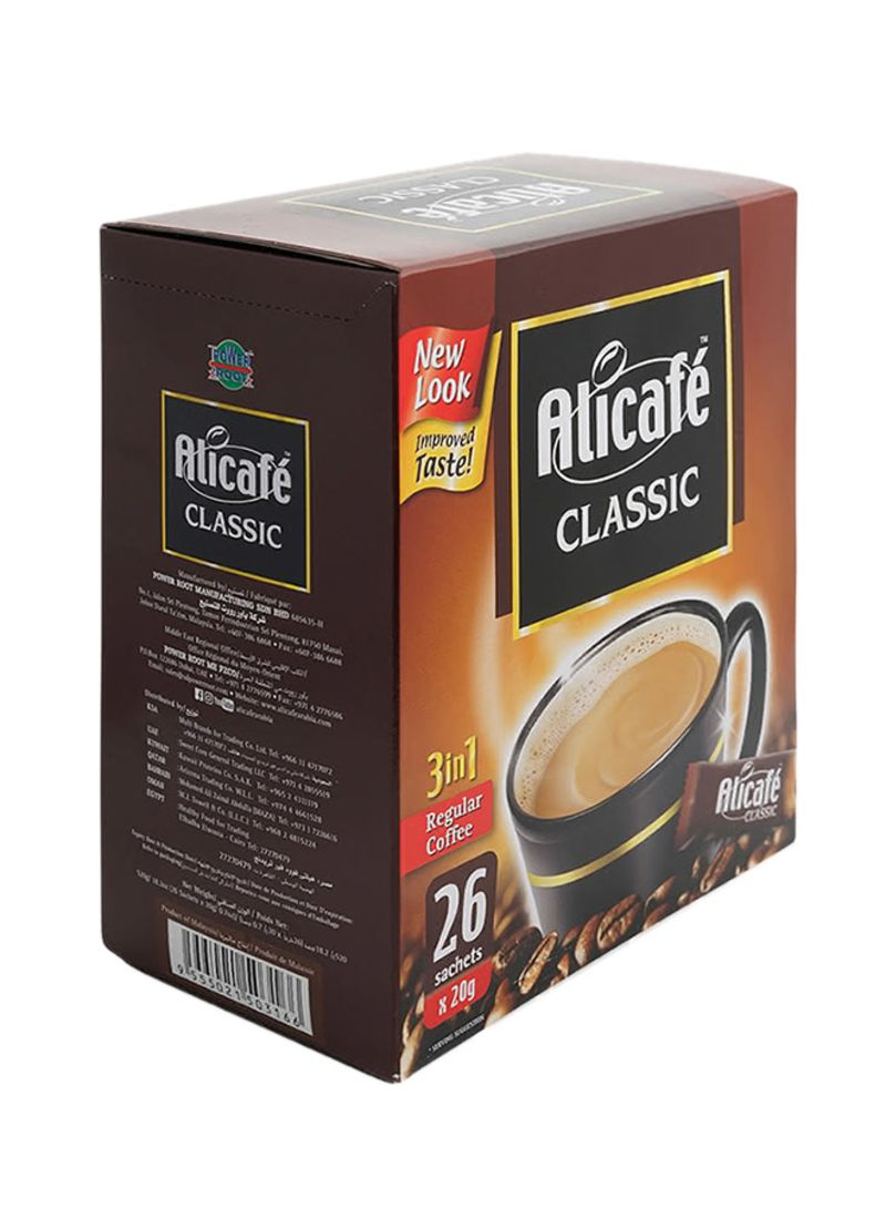 3 In 1 Instant Classic Regular Coffee 26 Sachets 20g