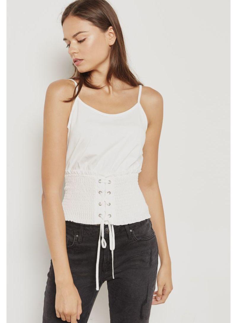 6289c010dde Shop Topshop Shirred Corset Waist Cami Top White online in Dubai ...