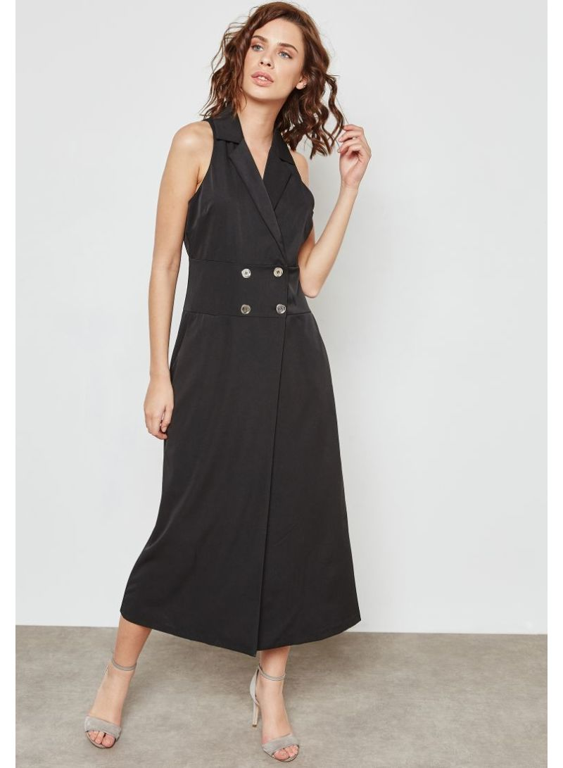 fb51ab8c12b7 Shop Ella By Namshi Double Breasted Midi Dress Black online in ...