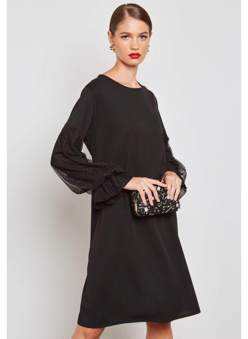 b9ccc3f2abfe Shop Ella By Namshi Dotted Lace Puffed Sleeve Midi Dress Black ...
