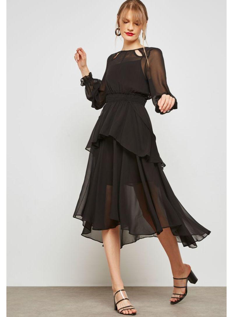 3222e83ecc63 Shop Ella By Namshi Ruffle Detail Shirred Waist Midi Dress Black ...