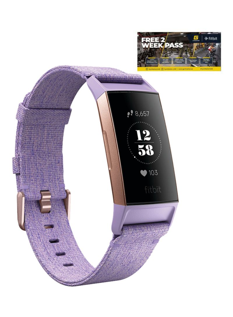 Shop fitbit Charge 3 Special Edition Fitness Tracker Lavender Woven/Rose  Gold + 2-Weeks Gym Nation Pass Large/Small online in Dubai, Abu Dhabi and  all