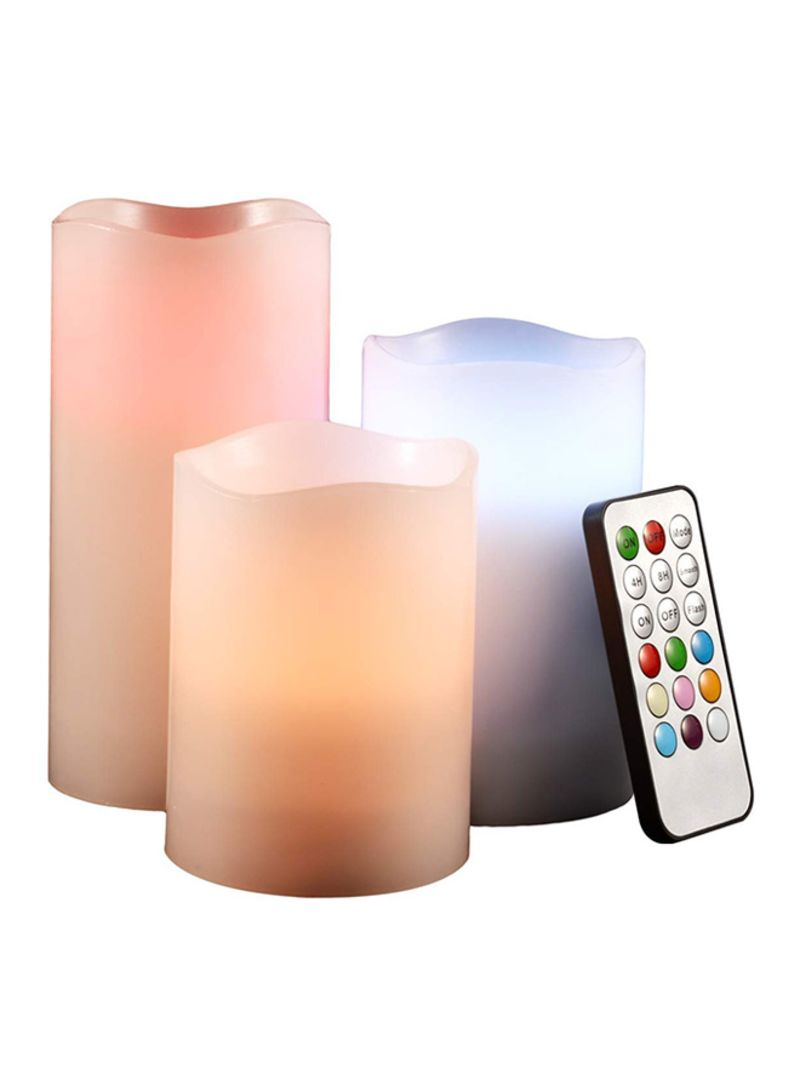 Shop Luma 3-Piece Real Wax Flameless Candles With Remote Control Cream  6x5x4 inch online in Dubai, Abu Dhabi and all UAE