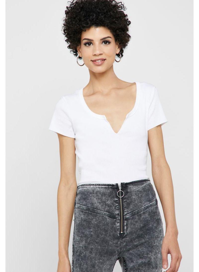 84ee2b07134 Shop Topshop Notch Ribbed T-Shirt White online in Dubai