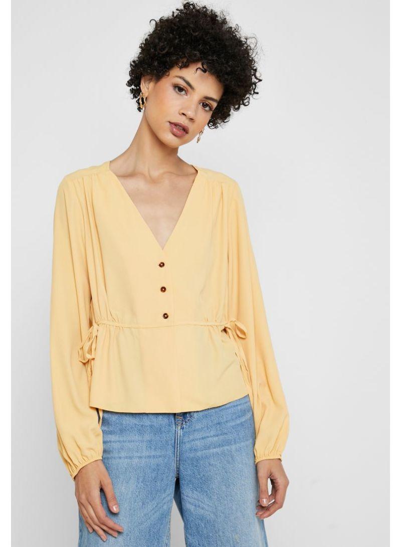 13fa854b0e9 Shop Topshop Side Tie Button Detail Top Beige online in Dubai