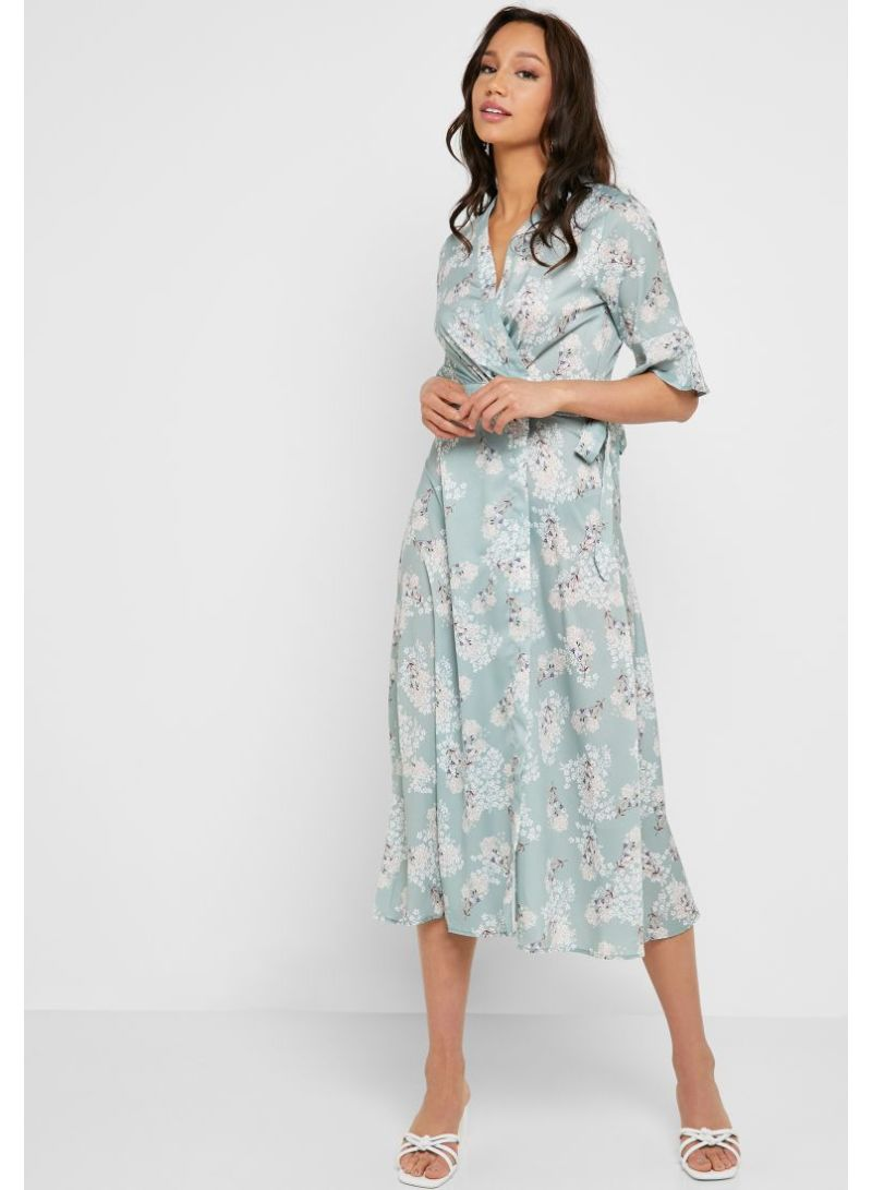 c499c0a9077b Shop Ella By Namshi Floral Print Wrap Front Midi Dress Green online ...