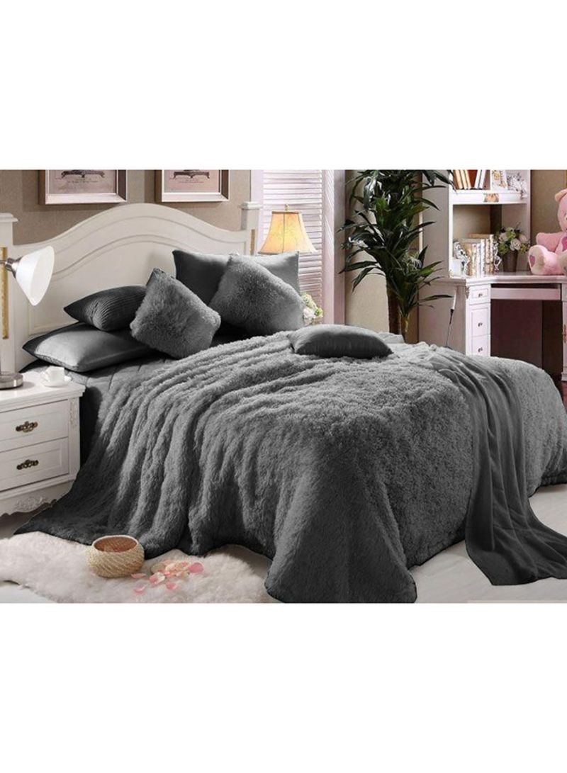 6 Piece Luxury Comforter Set Faux Fur Grey King Price In Uae Noon Uae Kanbkam