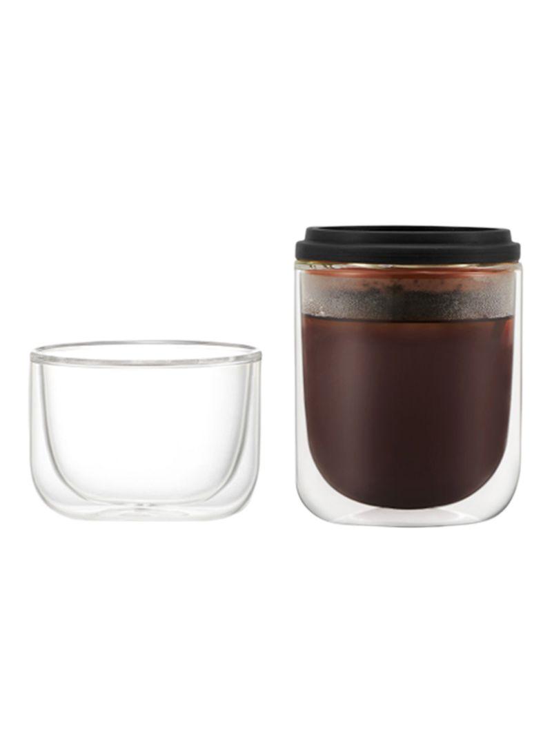 Shop  Glass Coffee Bottle Over Tea Maker Black/Clear 410g online in Riyadh, Jeddah and all KSA