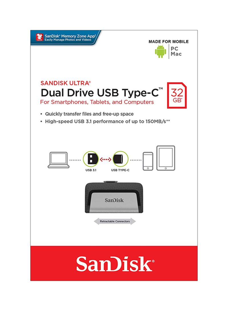 SANDISK ULTRA DUAL TYPE-C USB 150MB//sec 32GB USB FLASH DRIVE NEW st