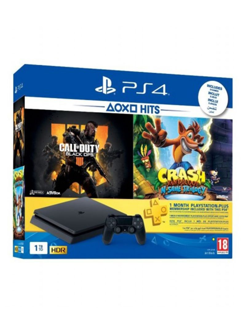 Shop Sony PlayStation 4 1TB Console With 2 Games (Call Of Duty Black Ops 4,  Crash Bandicoot N  Sane Trilogy) + 1 Months PS Plus Membership online in