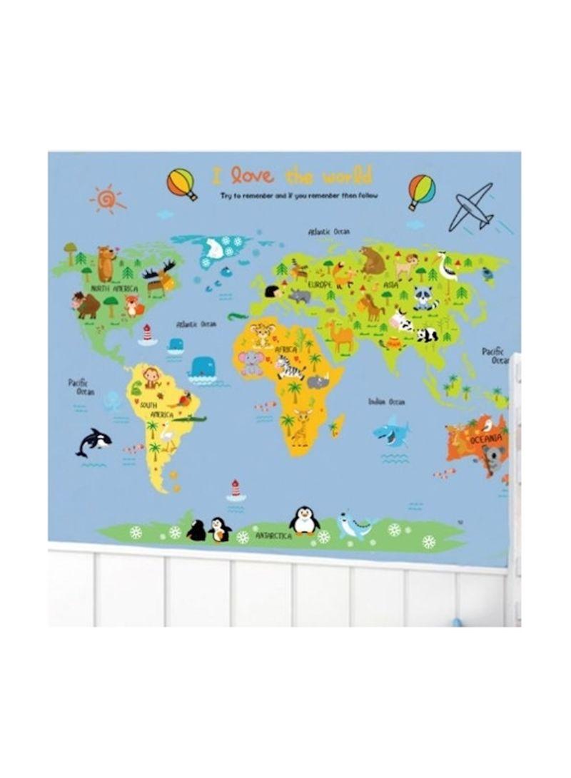 Shop Generic Creative Animals World Map Wall Sticker online in Dubai, Abu  Dhabi and all UAE