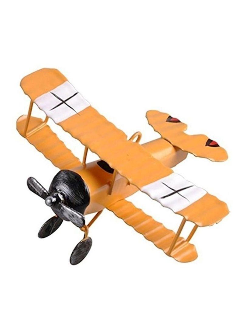 IUU Large Retro Iron Aircraft Handicraft Vintage Airplane Model Metal Biplane Plane Aircraft Models Metal Handicraft Home Decor Ornament Toy Handicraft Souvenir Blue