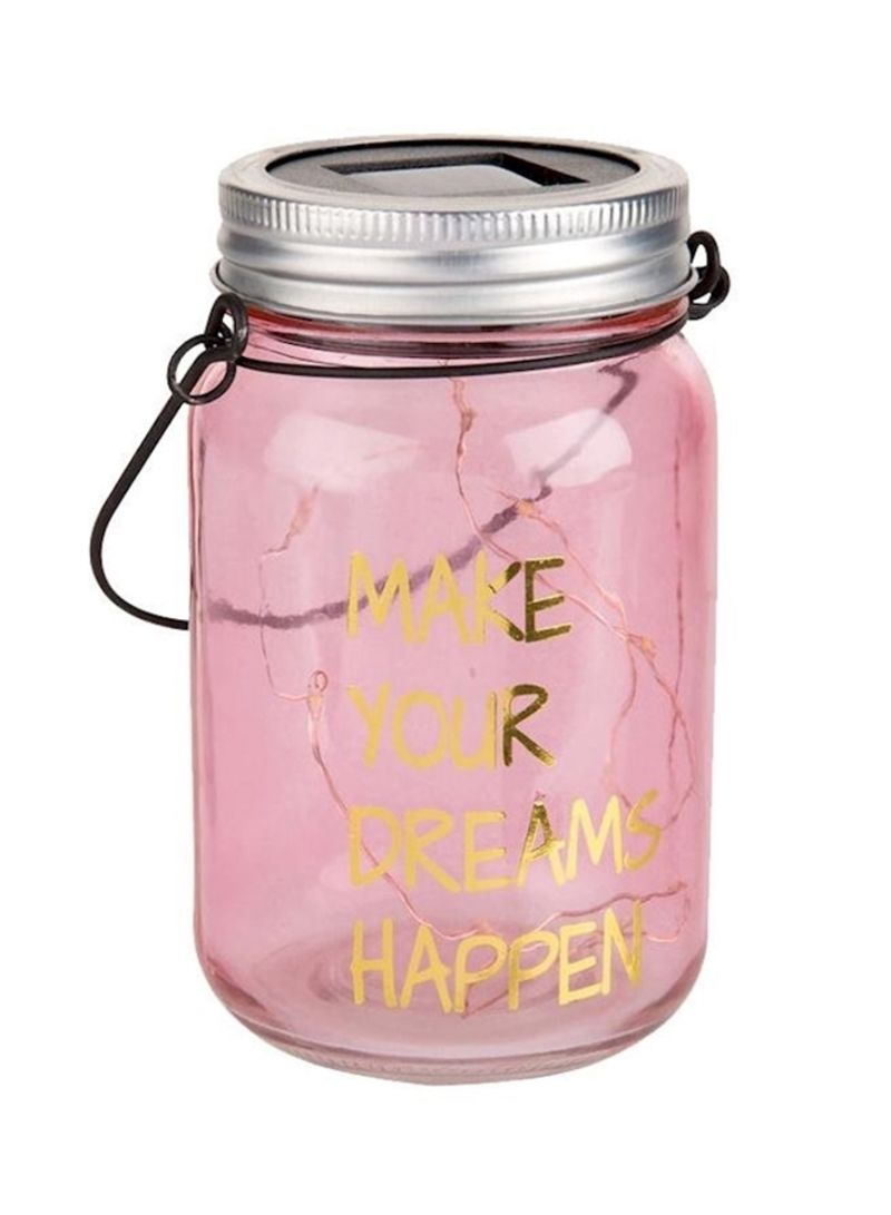 Solar Light Gl Jar Pink