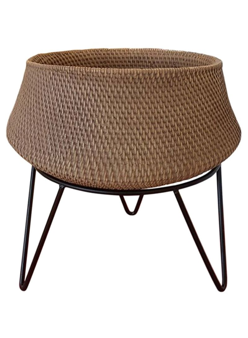 Shop Homes R Us Rattan Planter With Iron Stand Brown Black 16 5inch Online In Riyadh Jeddah And All Ksa