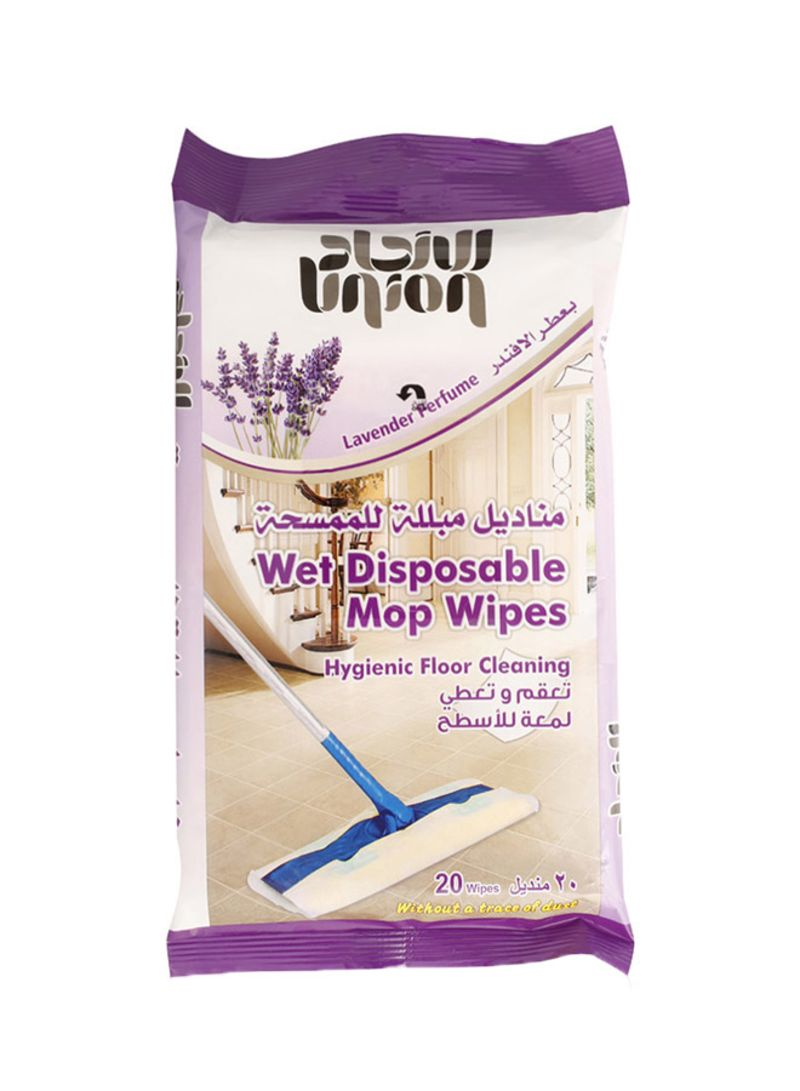 Wet Disposable Mop Wipes, 20-Piece