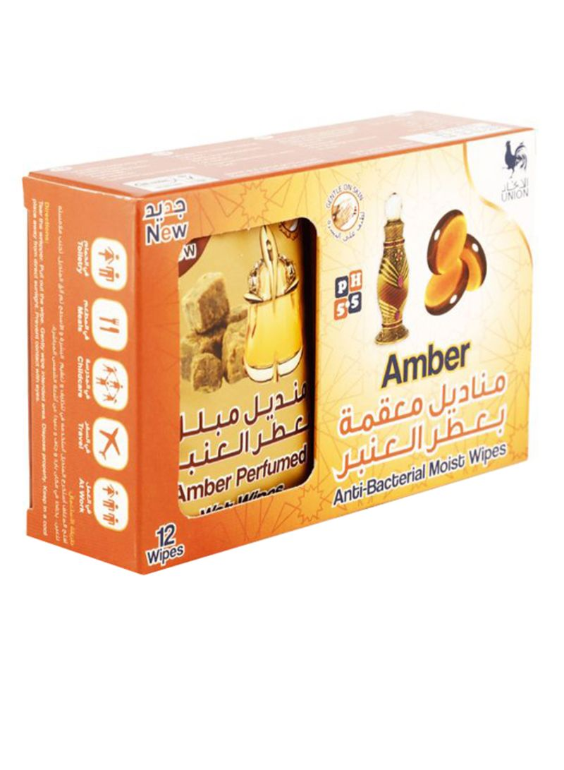 12-Piece Amber Anti Bacterial Moist Wipe Set Multicolour