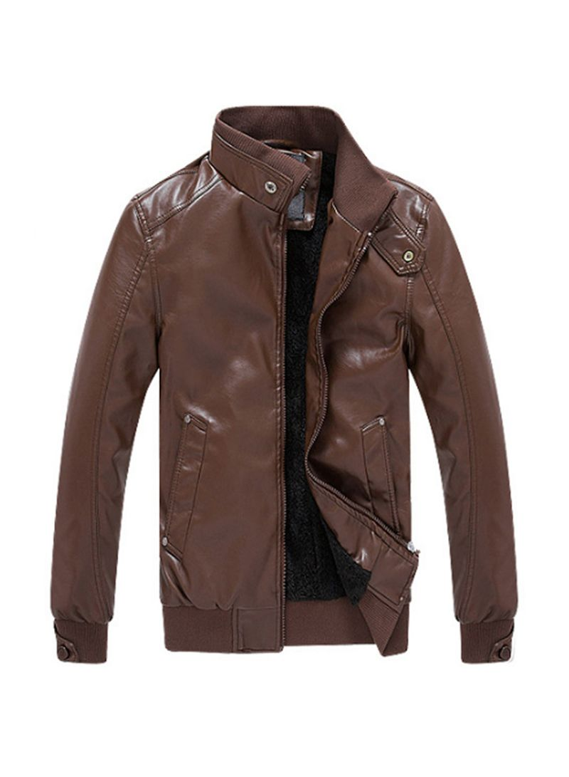 Shop PU Leather Stand Collar Slim Fit Jacket online in Dubai, Abu Dhabi and all UAE