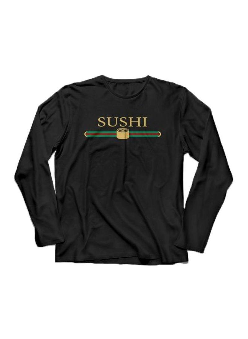Printed Round Neck T-shirt Black/Gold/Green
