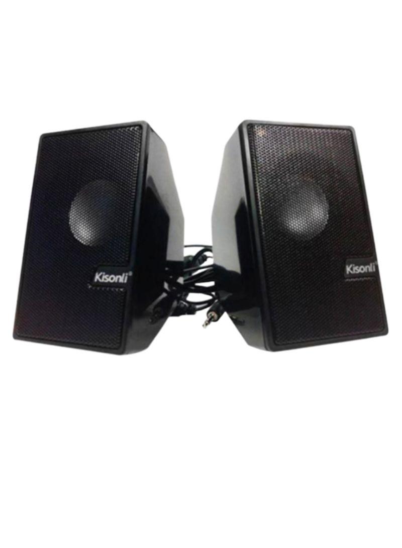 Kisonli ومجموعة مكبر صوت محمول للوسائط المتعددة مزوّد بمنفذ USB من قطعتين S-555 أسود