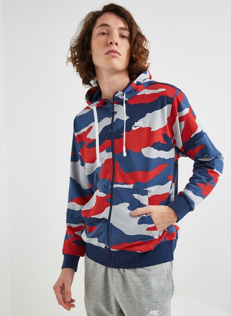 Shop Hoodie Club Navy Nike Camo Nsw Wolf GreyMidnight Zip thrQCxsd