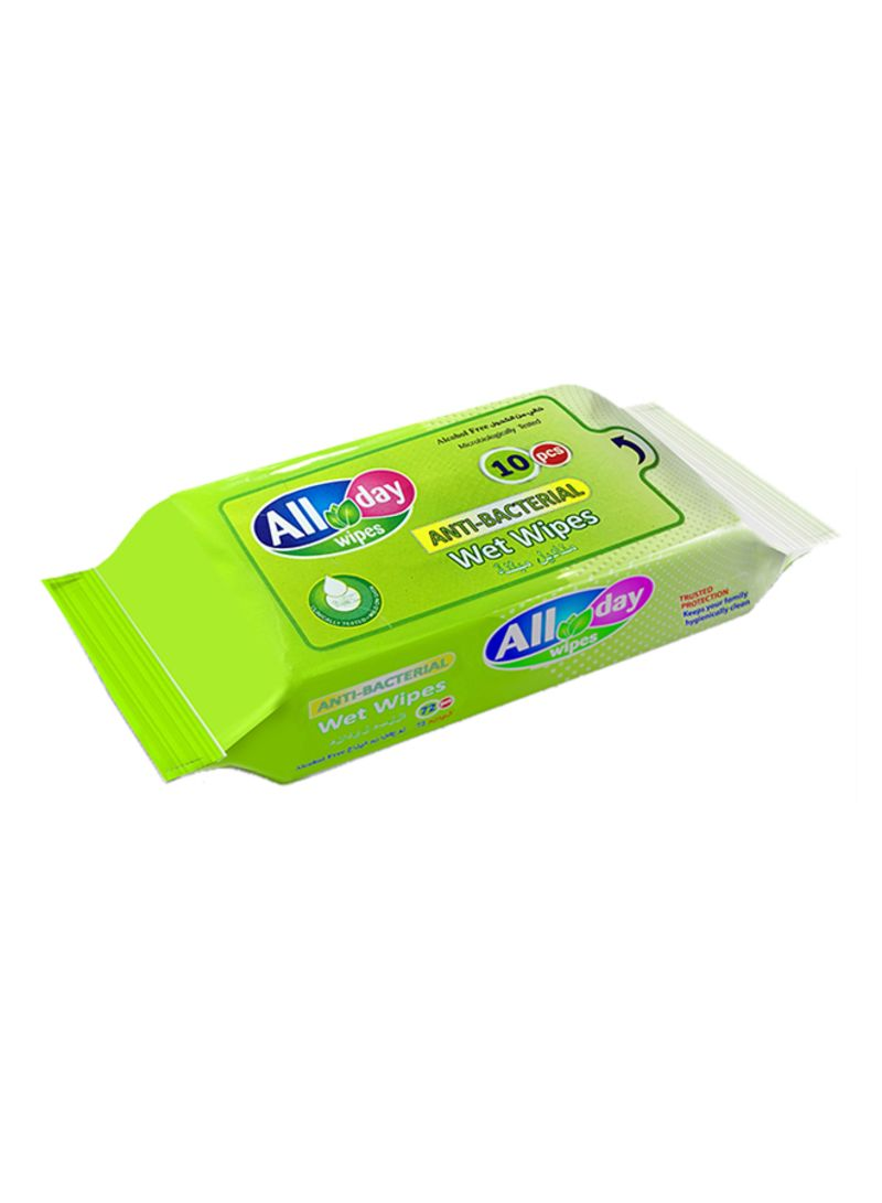 10-Piece Antibacterial Wet Wipes Set Green 150 x 180millimet