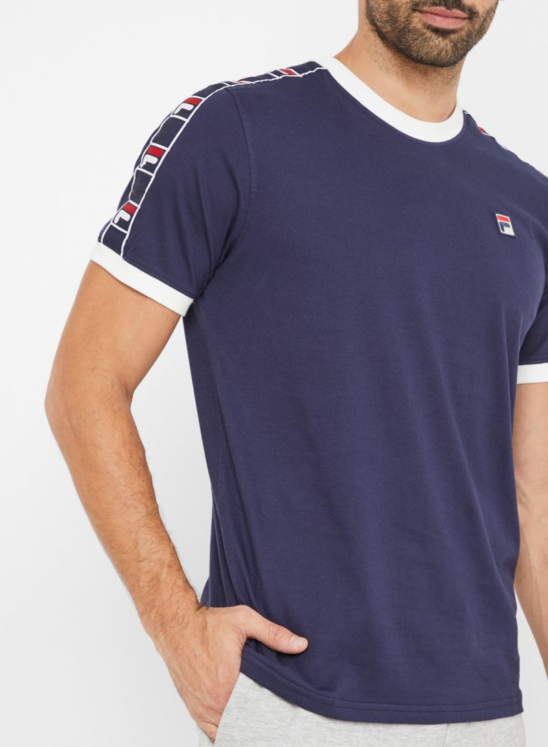 Fila Blue T shirt With Taping In Navy for men