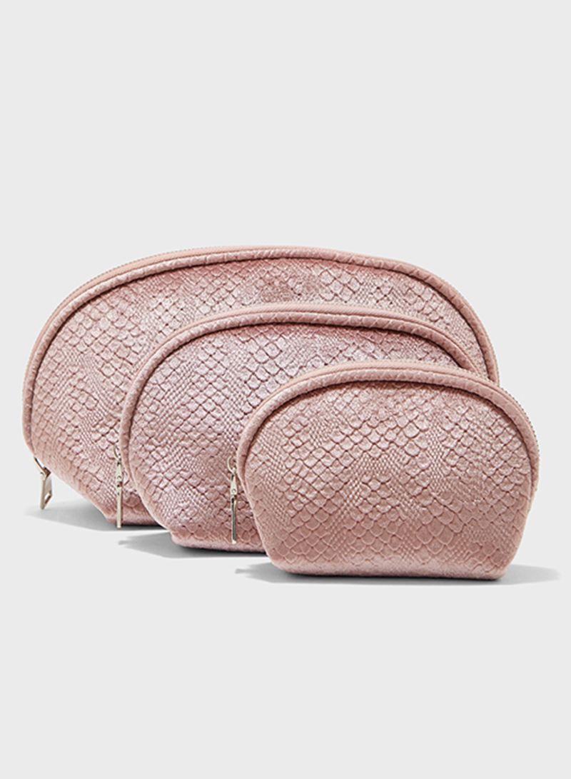 3 مجموعات من حقائب مكياج مخملية بنمط جلد التمساح