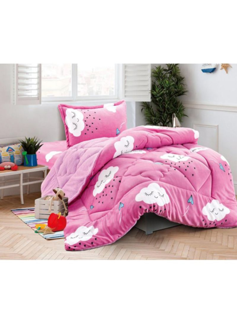 Shop Ming Li 3 Piece Winter Comforter Set Fabric Pink Black White Single Size Online In Dubai Abu Dhabi And All Uae