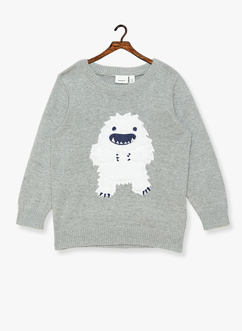 Shop NAME IT Boys Monster Applique Sweater Grey online in Dubai, Abu Dhabi and all UAE