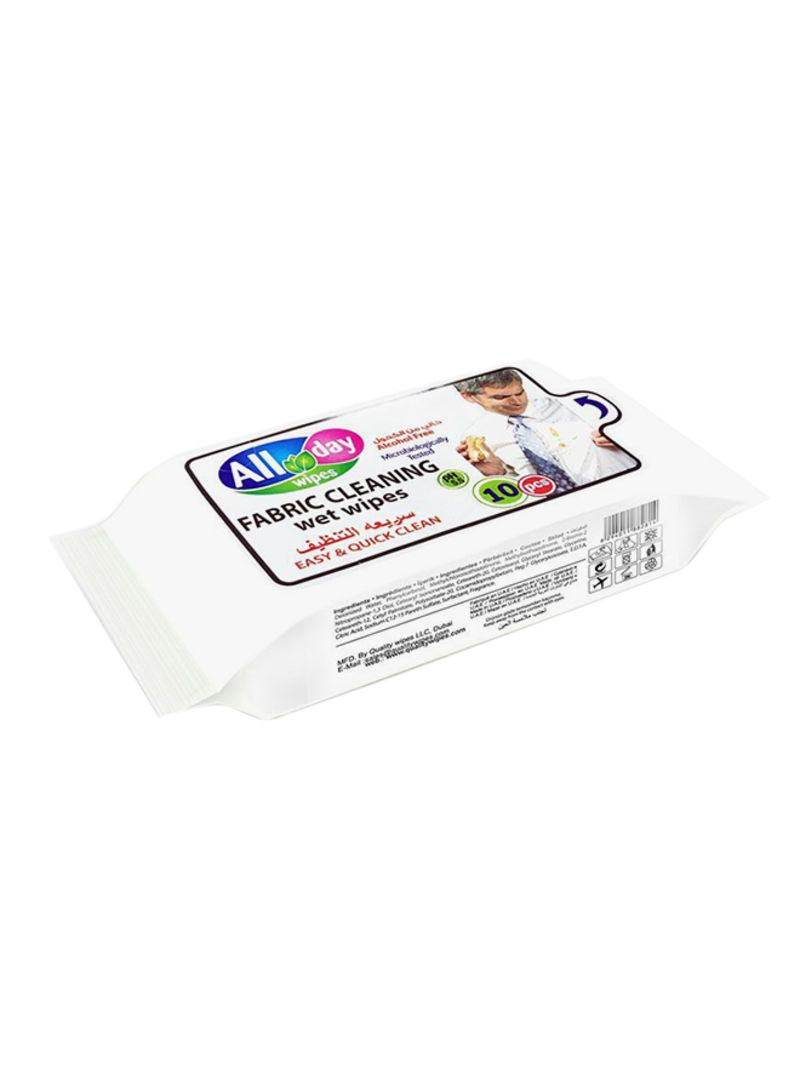 10-Piece Fabric Cleaning Wipes White 150x180millimeter
