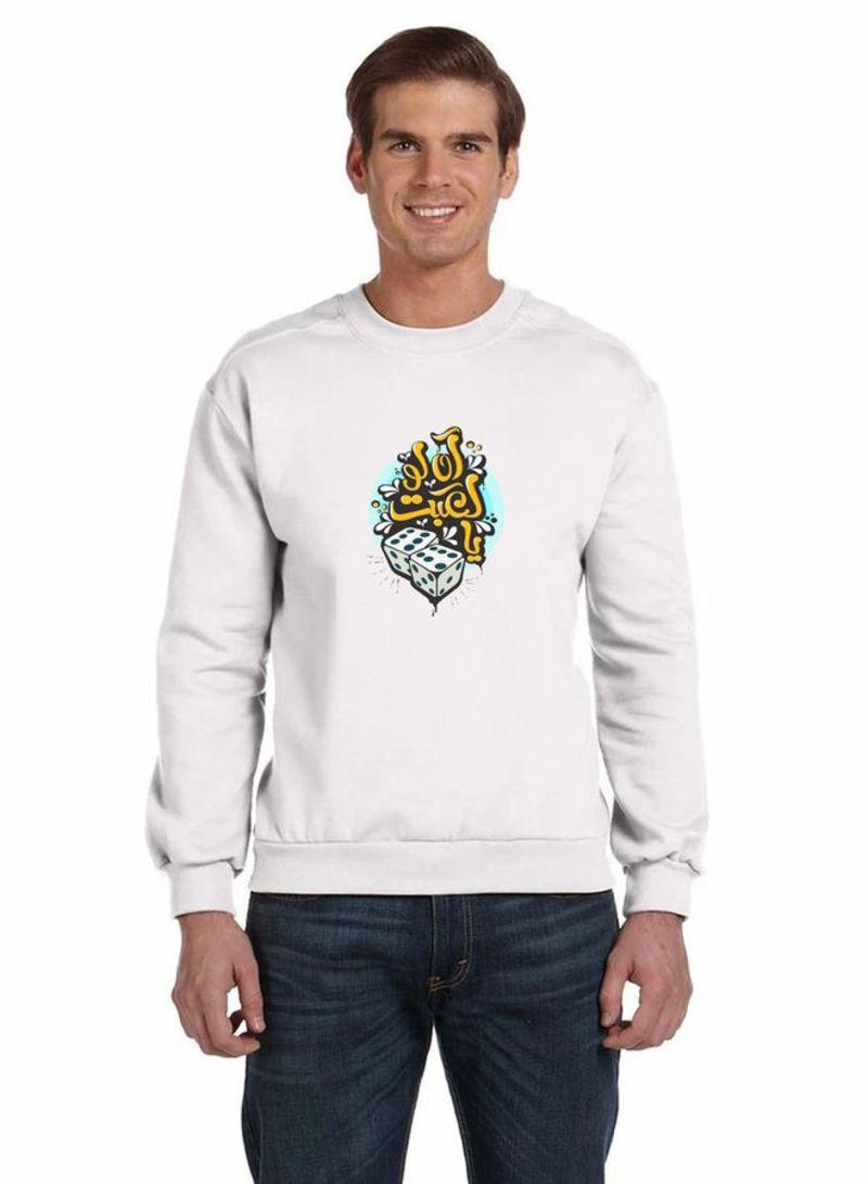 Printed Full Sleeve Crewneck Sweatshirt White