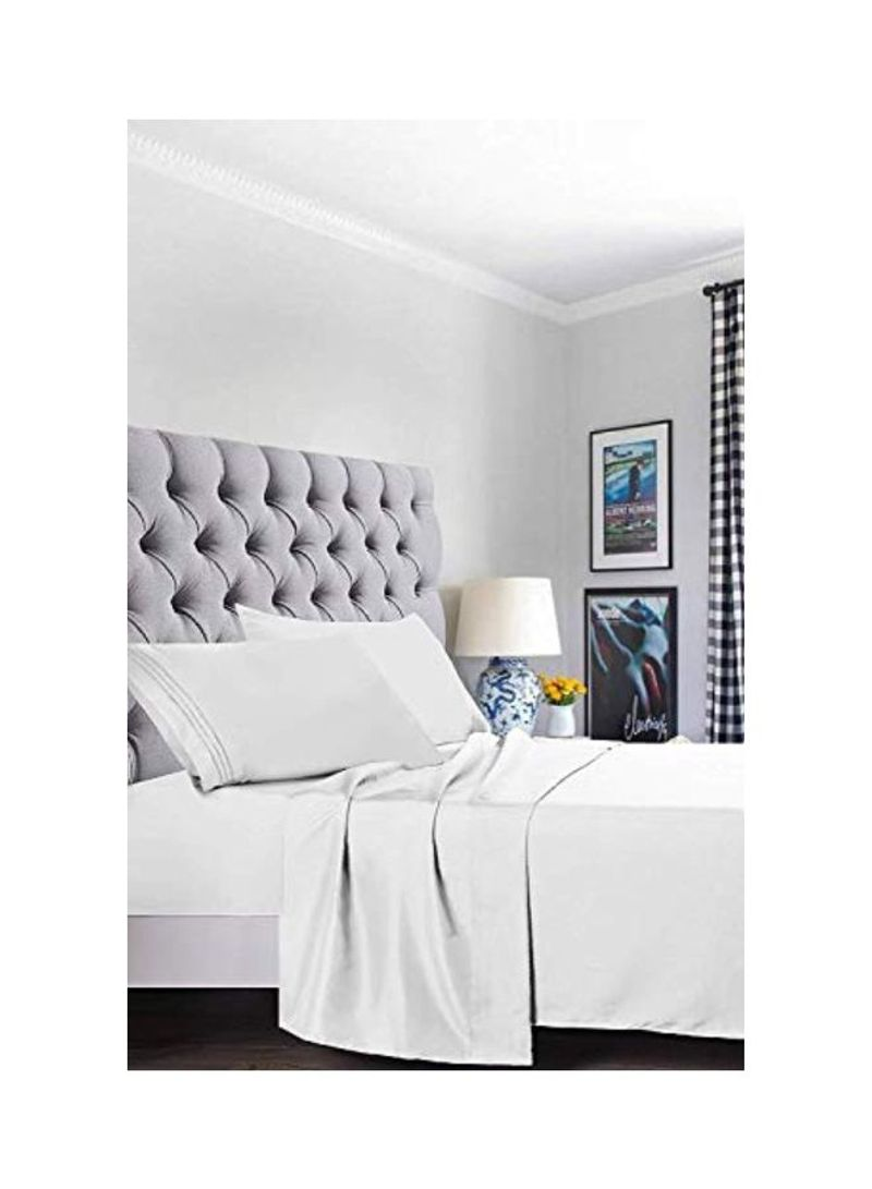 Shop Elegant Comfort 4-Piece Microfiber Bed Sheet Set White Twin XL online  in Dubai, Abu Dhabi and all UAE