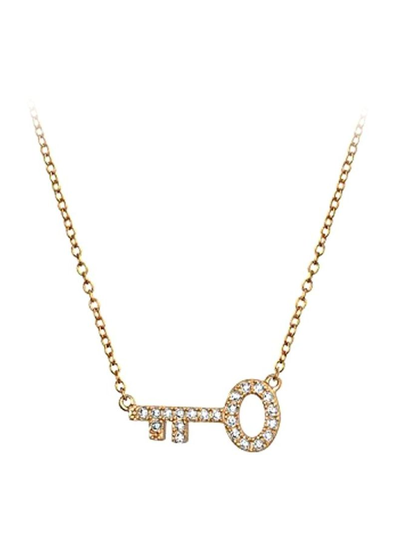 Shop Bling Jewelry 925 Sterling Silver Rose Gold Plated Cubic Zirconia Studded Key Shaped Pendant Necklace Online In Dubai Abu Dhabi And All Uae