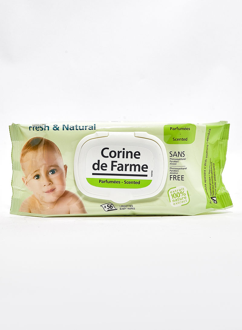 56-Piece Fresh And Natural Baby Wipes With Soothing Calendul